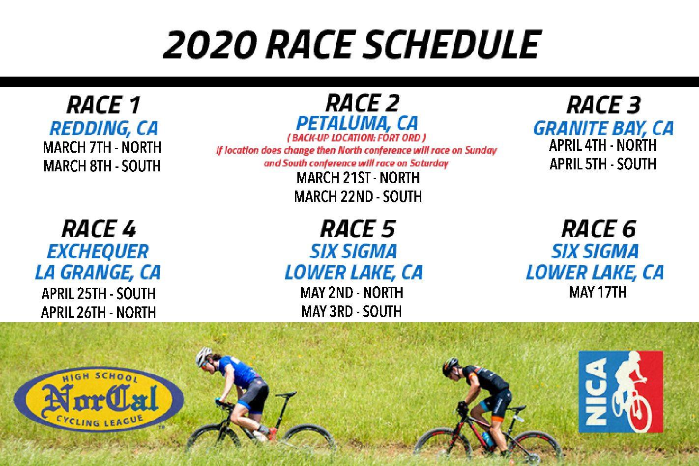 2020 Race Schedule